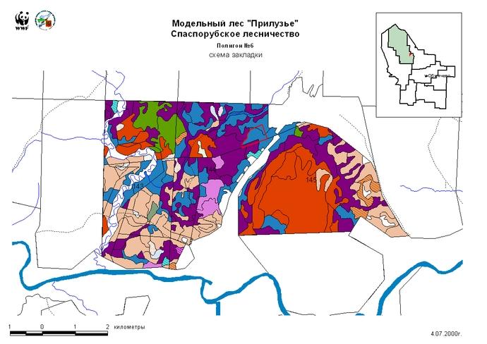 План лесонасаждений и расположение демонстрационного полигона в 144 квартале Спаспорубского лесничества