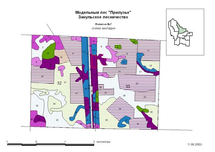 План лесонасаждений и расположение демонстрационного полигона в 32 и 33 кварталах Занульского лесничества