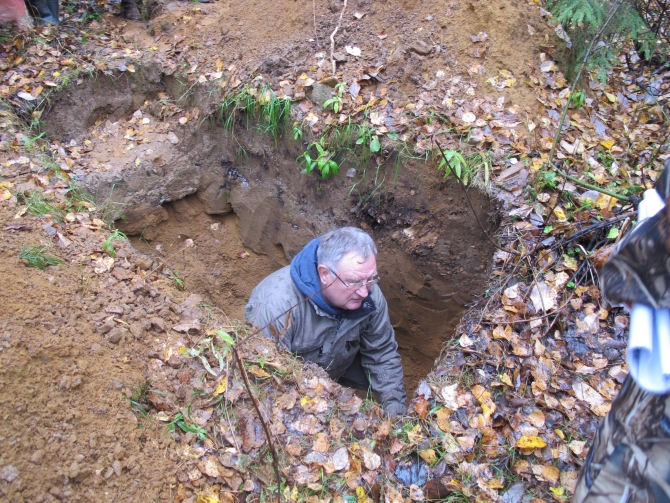 V.S. Stolbovoy, Dr.Sc. (Geography), from Moscow is evaluating the changes of the soil profile on the former skidding road after 30 years since logging